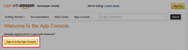 Sign in to the App Console